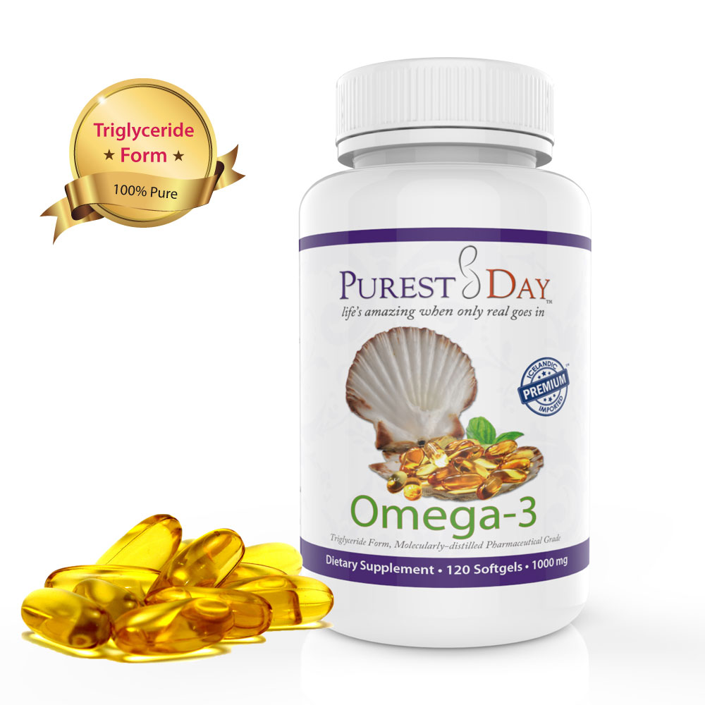 Purest day triglyceride omega 3 fish oil 120 capsules for Fish oil to lower triglycerides